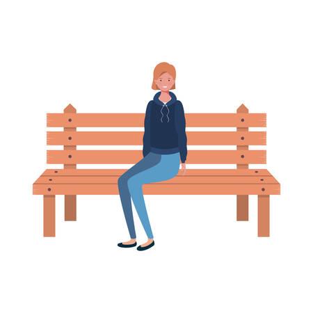 woman sitting in park chair on white background vector illustration design Ilustração