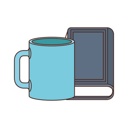 cup of coffee with book isolated icon vector illustration desing