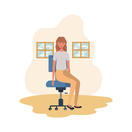 woman sitting in the living room in office chair vector illustration design