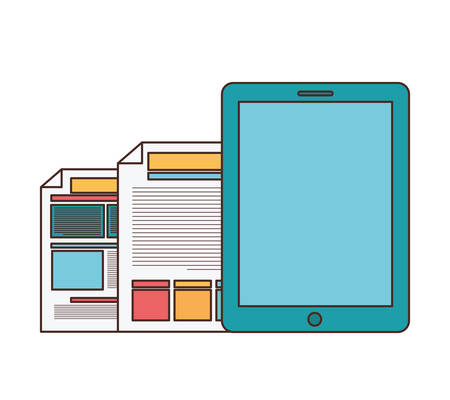 smartphone with file sheet in white background vector illustration design