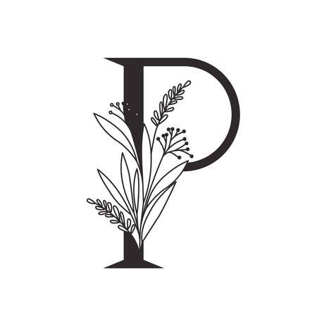 letter of the alphabet with leaves vector illustration design Vecteurs