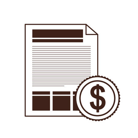 file sheet with coin of dollar in white background vector illustration design Illusztráció