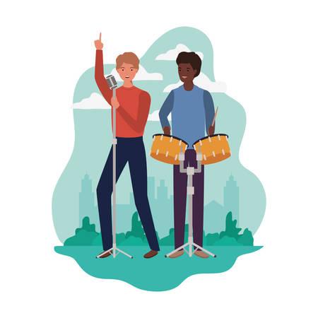 men with musicals instruments and background landscape vector illustration design Stock Illustratie