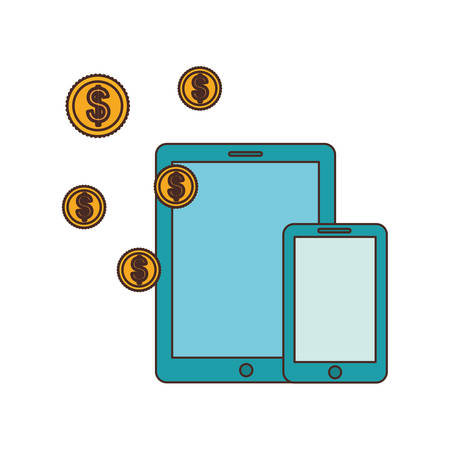 smartphone with money around in white background vector illustration design Imagens - 129033365