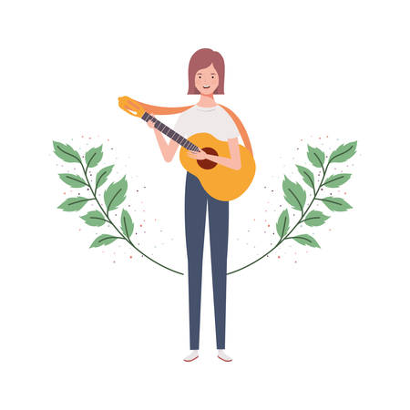woman with acoustic guitar and branches and leaves in the background vector illustration design Illustration