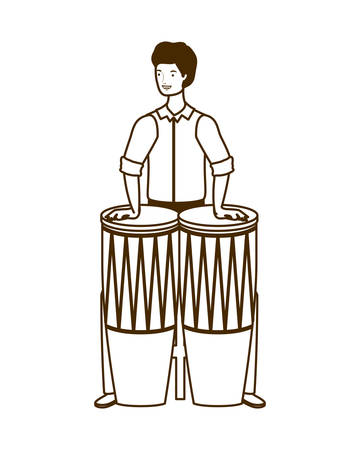 silhouette of man with congas on white background vector illustration design