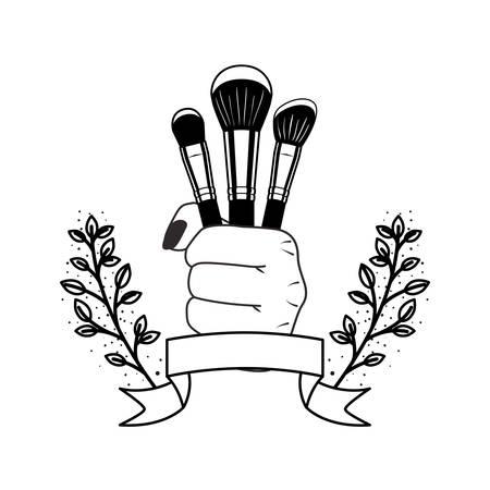 makeup brushes on white background vector illustration design 일러스트