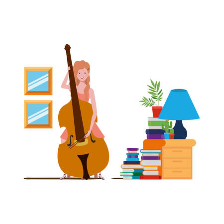 young woman with fiddle on white background vector illustration design 向量圖像