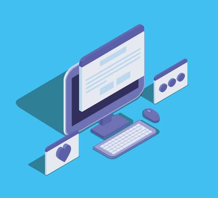 L'icône de l'appareil de la technologie de l'ordinateur de bureau conception d'illustration vectorielle
