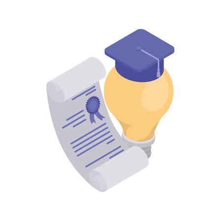 certificat de fin d'études avec chapeau sur fond blanc vector illustration design Vecteurs