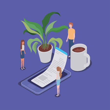 online education with smartphone and mini people vector illustration design Illustration