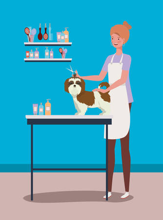 cute shistzu dog care salon with girl vector illustration design