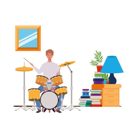 young man with drum kit in living room vector illustration design