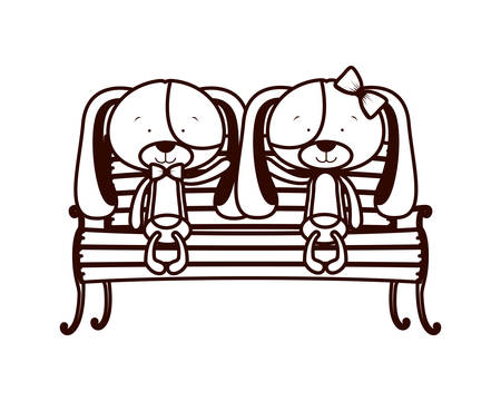 cute couple of dogs sitting on park chair vector illustration design Illustration