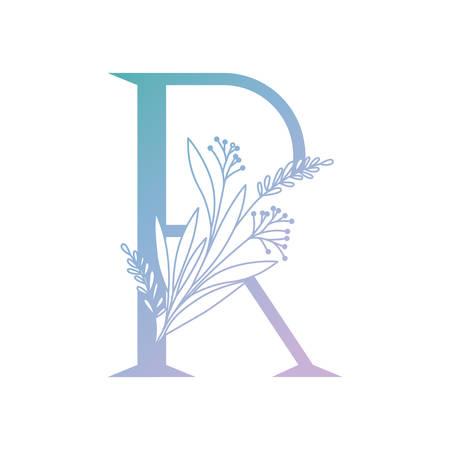 lettre de l'alphabet avec des feuilles de conception d'illustration vectorielle Vecteurs