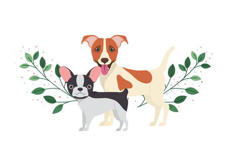 cute and adorable dogs on white background vector illustration design Illustration