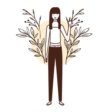 silhouette of woman standing with landscape background vector illustration design