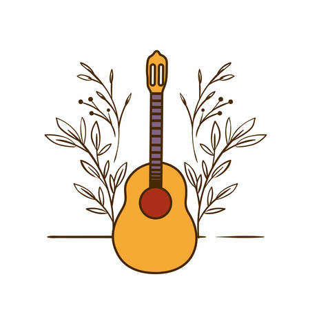 musical instrument acoustic guitar on white background vector illustration design