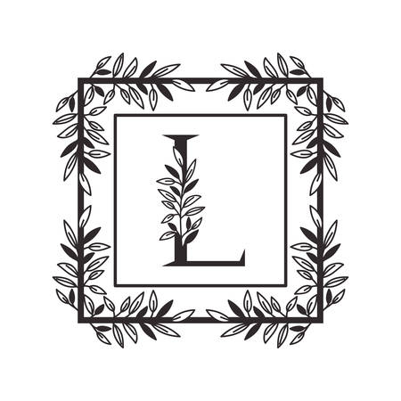 letter L of the alphabet with vintage style frame vector illustration design