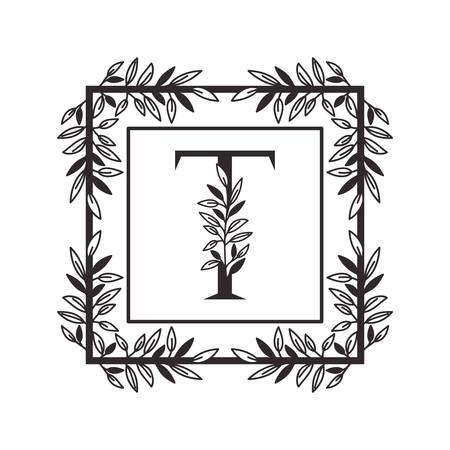 Lettre T de l'alphabet avec la conception d'illustration vectorielle de cadre de style vintage