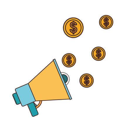 megaphone and coins in white background vector illustration design