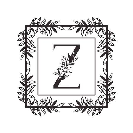 Lettre Z de l'alphabet avec la conception d'illustration vectorielle de cadre de style vintage