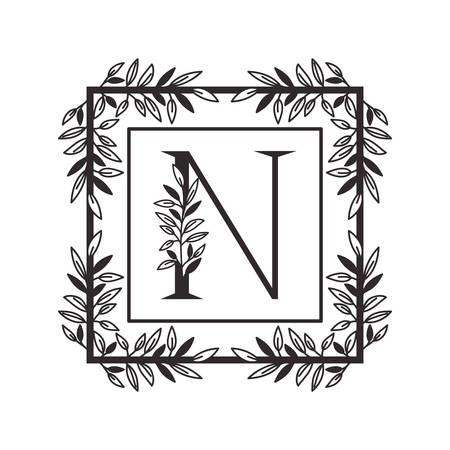 letter N of the alphabet with vintage style frame vector illustration design
