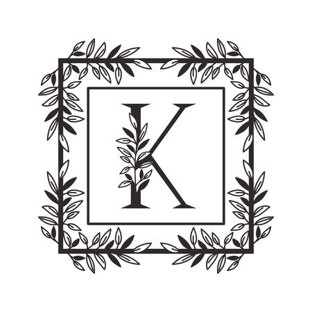 letter K of the alphabet with vintage style frame vector illustration design