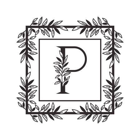letter P of the alphabet with vintage style frame vector illustration design