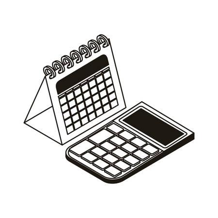 Calculadora y calendario en fondo blanco, diseño de ilustraciones vectoriales