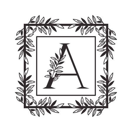 Lettre A de l'alphabet avec la conception d'illustration vectorielle de cadre de style vintage Vecteurs