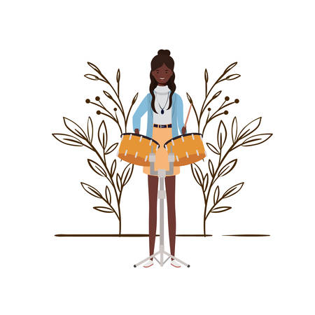 young woman with timpani on white background vector illustration design  イラスト・ベクター素材