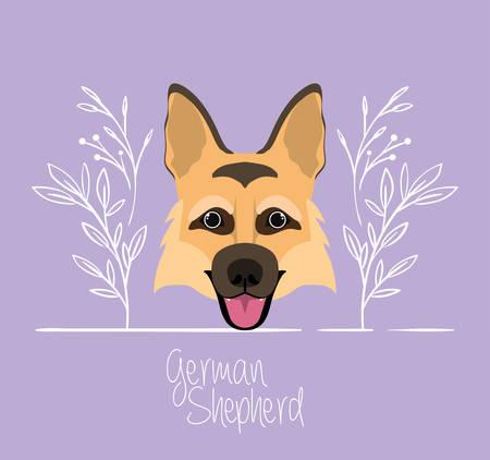 cute german shepherd dog pet head character vector illustration design