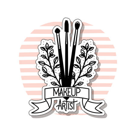 makeup brushes on white background vector illustration design Illusztráció