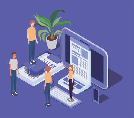 online education with desktop and mini people vector illustration design Illustration
