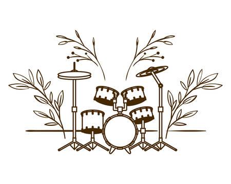 drum kit musical instrument on white background vector illustration design Stock Vector - 129046597
