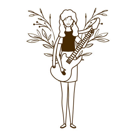 silhouette of woman with electric guitar on white background vector illustration design Banque d'images - 129046595