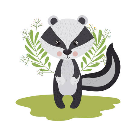 cute and adorable skunk with wreath vector illustration design Illustration