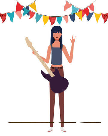 young woman with electric guitar on white background vector illustration design Banque d'images - 129062436