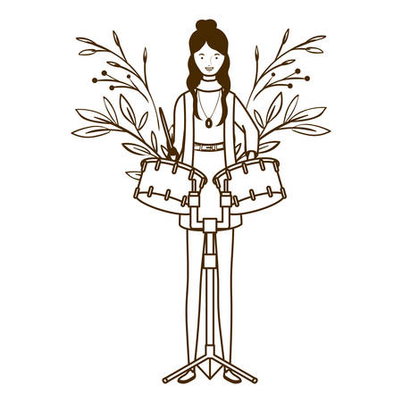 silhouette of woman with timpani on white background vector illustration design