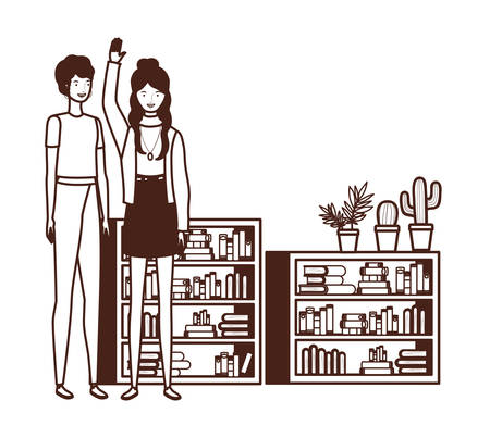 silhouette of women with bookshelf of wooden and books vector illustration design Stock Illustratie