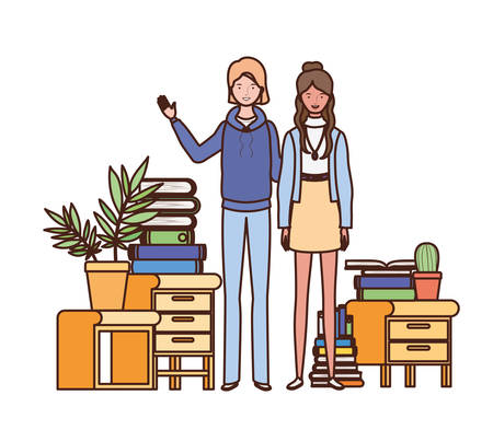 women standing with bookshelf of wooden and books vector illustration design Stock Illustratie