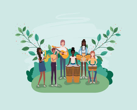 group of men playing instruments in the camp vector illustration design Stock Illustratie