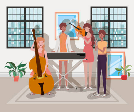 group of women playing music instruments in the room vector illustration design Stock Illustratie
