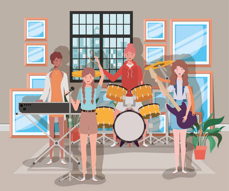 group of women playing instruments in the room vector illustration design Banque d'images - 129109454