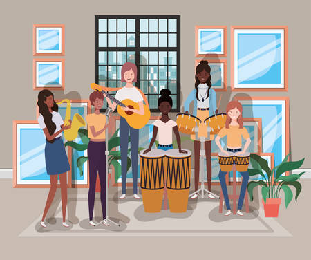 group of women playing instruments in the room vector illustration design