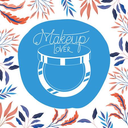 blush make up in floral frame elegant vector illustration design