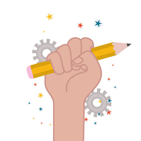 hand with pencil write isolated icon vector illustration design