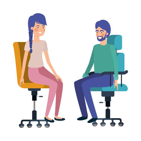 couple with sitting in office chair avatar character vector illustration design Banque d'images - 129109208