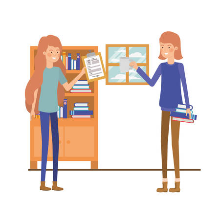 women with wooden shelving in white background icon vector illustration design